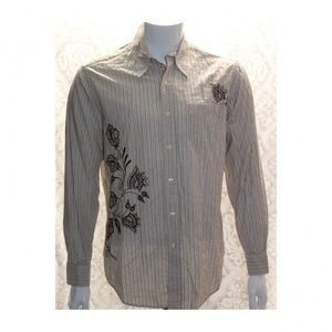 Lucky Brand Mens Brown Embroidered Shirt